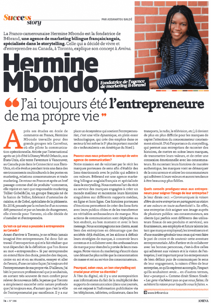 Hermine Mbondo interview with Amina Magazine